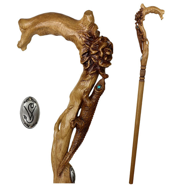 Igor Lizard and Flower Artisan Intricate Handcarved Cane