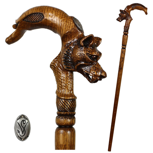 Igor Wolf Under Moon Artisan Intricate Handcarved Cane