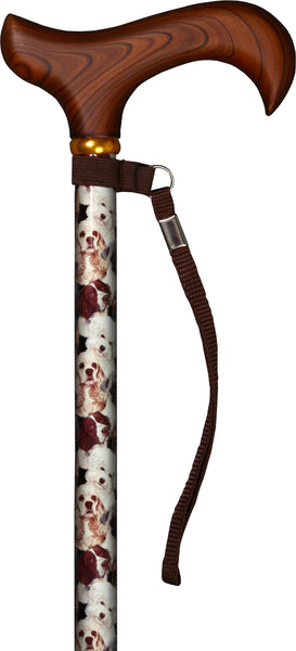 Med Basix Dogs Derby Walking Cane With Standard Adjustable Aluminum Shaft and Brass Collar