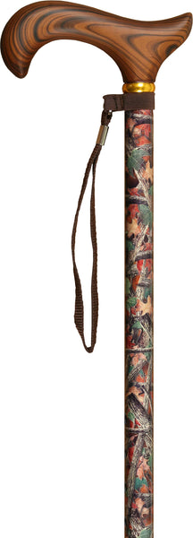 Med Basix Hunters Camo Derby Walking Cane With Standard Adjustable Aluminum Shaft and Brass Collar