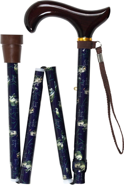 Med Basix Bass Folding Derby Walking Cane With Adjustable Aluminum Shaft and Brass Collar