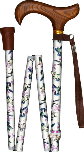 Med Basix White Hummingbirds Folding Derby Walking Cane With Adjustable Aluminum Shaft and Brass Collar