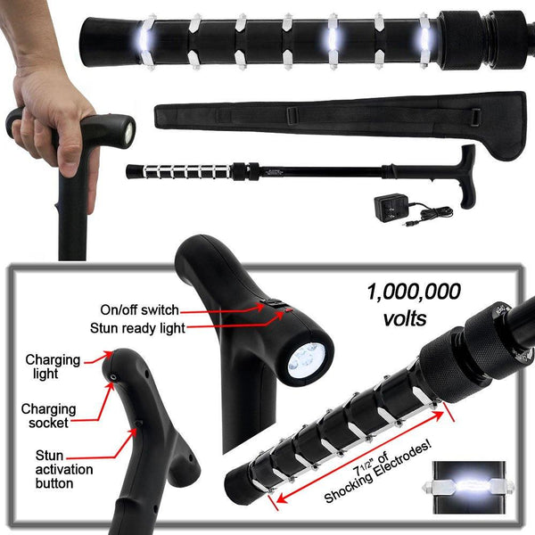 P.S. Products Zap Cane - Stun Gun Rechargeable Cane with LED Flashlight