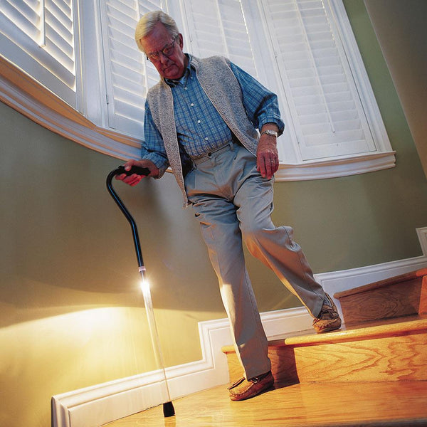 Pathlighter PathLighter Cane - Adjustable Offset Handle Walking Cane With Clear Shaft