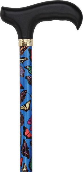 Royal Canes Blue Skies Butterfly Adjustable Derby Walking Cane with Engraved Collar