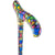 Royal Canes Mosaic Stained Window Adjustable Designer Derby Walking Cane with Engraved Collar