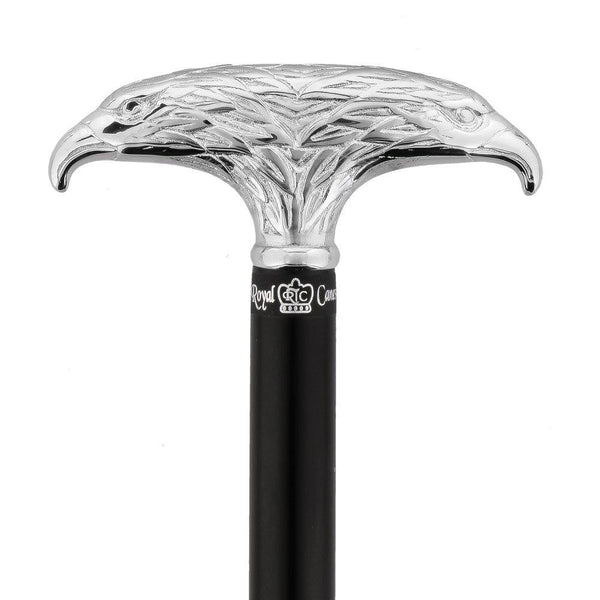 Royal Canes Chrome Plated Double Eagle T-Handle Walking Cane With Black Beechwood Shaft