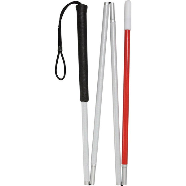 Royal Canes Sight Sensing Rubber Handle Stick With 4-Section Folding White and Red Reflective Shaft
