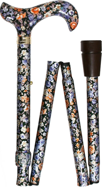 Royal Canes Flowers Forever Folding Adjustable Derby Walking Cane With Aluminum Shaft and Brass Collar