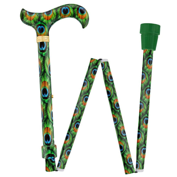Royal Canes Pretty Peacock Designer Derby Adjustable Folding Cane w/ Engraved Collar