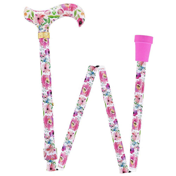 Royal Canes Watercolor Flowers Vivienne May Designer Folding Adjustable Cane