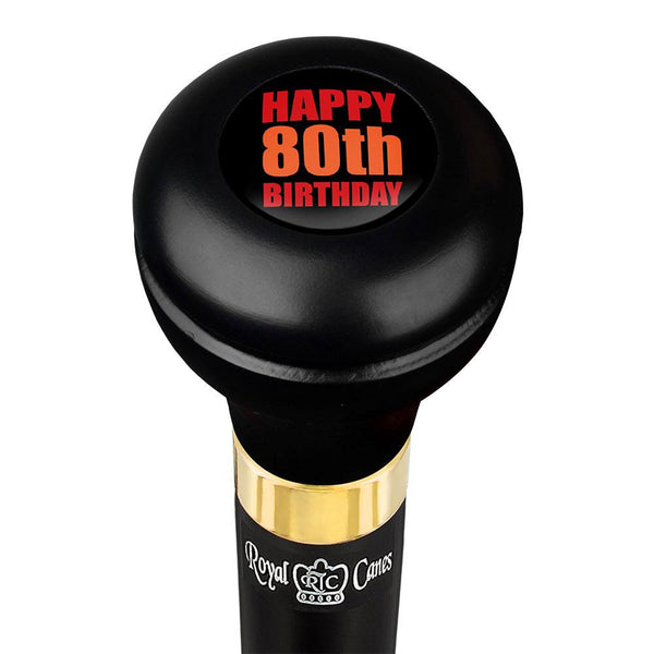 Royal Canes Happy 80th Birthday Flask Walking Stick w/ Black Beechwood Shaft & Pewter Collar