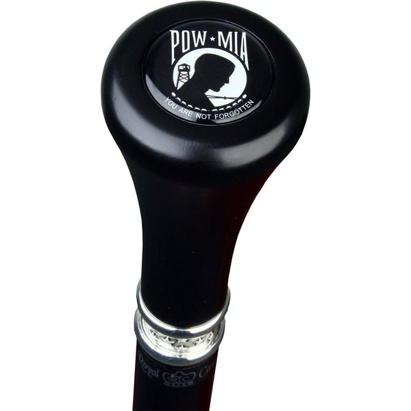 Royal Canes POW-MIA Flat Top Walking Stick With Black Beechwood Shaft and Pewter Collar