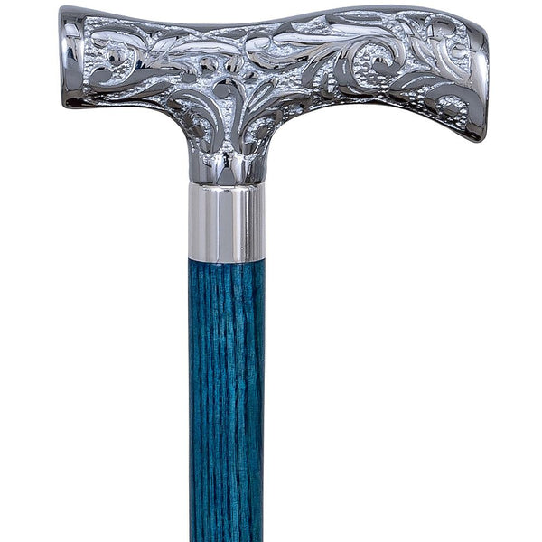 Royal Canes Chrome Plated T Shaped Handle Walking Cane w/ Custom Color Stained Ash Shaft & Collar