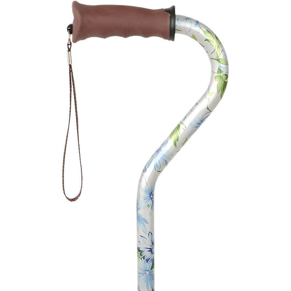 Royal Canes Heavenly Gardens Convertible Quad Base Walking Cane with Comfort Grip - Adjustable Shaft