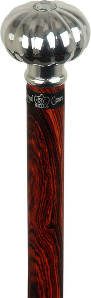 Royal Canes Silver Plated Pumpkin Knob Handle Walking Stick With Cocobolo Wood Shaft