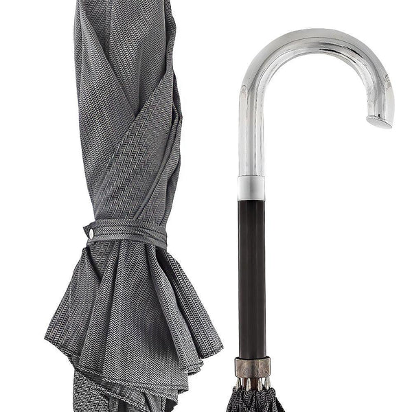 Royal Canes Silver 925r Tourist Handle Gray and Black Woven Umbrella Cane