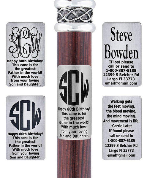 Royal Canes Custom Cane Engraving - Rectangle Stainless Steel