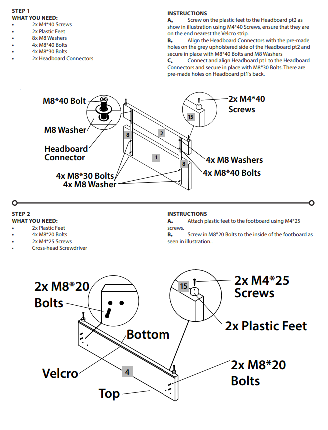 Bed Assembly 1st Set of Instructions