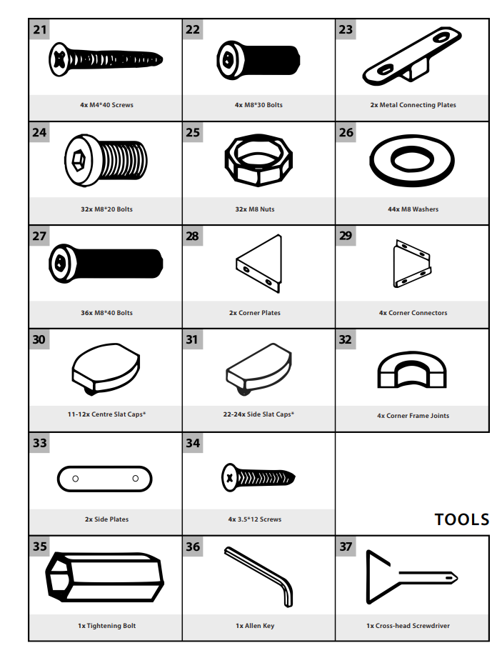 Fittings needed for Bed Assembly
