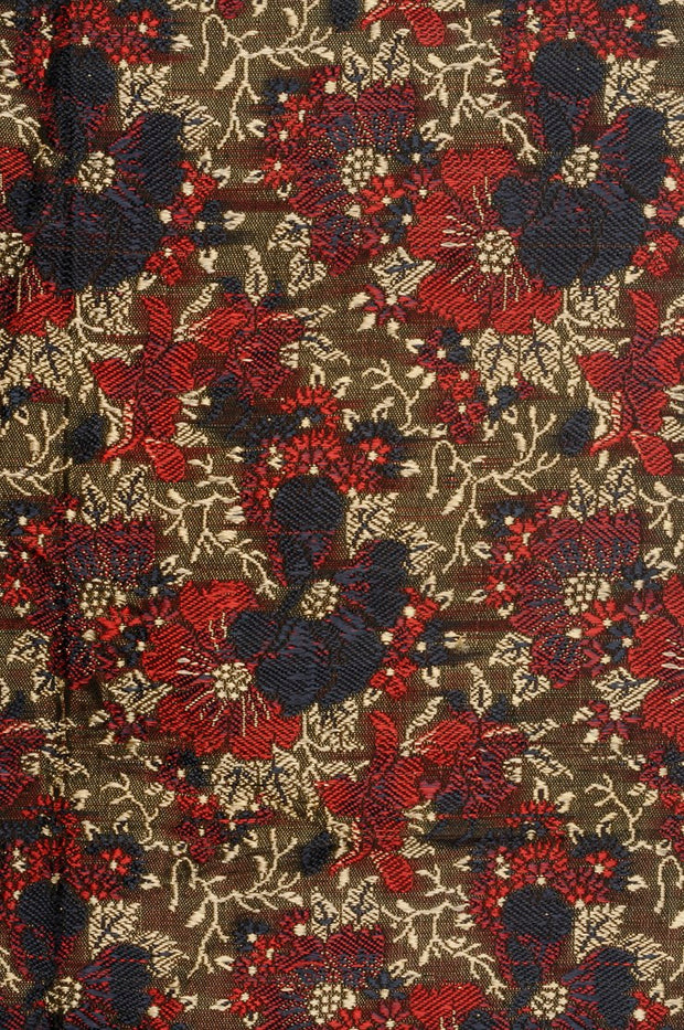 Red Blue Silk Brocade Fabric
