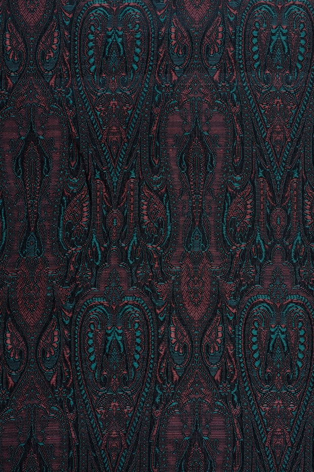 Midnight Blue Silk Brocade Fabric