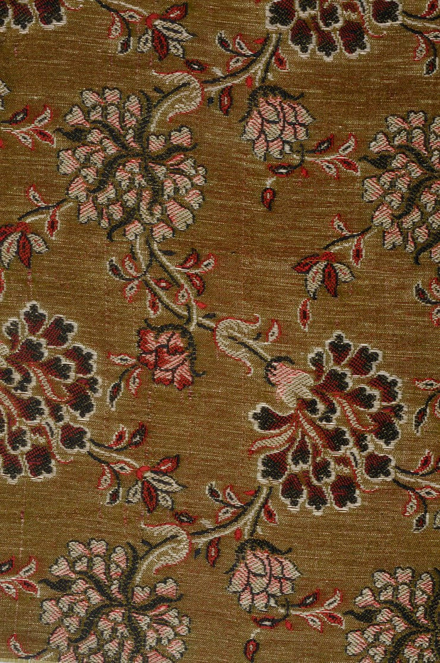 Olive Green Silk Brocade Fabric