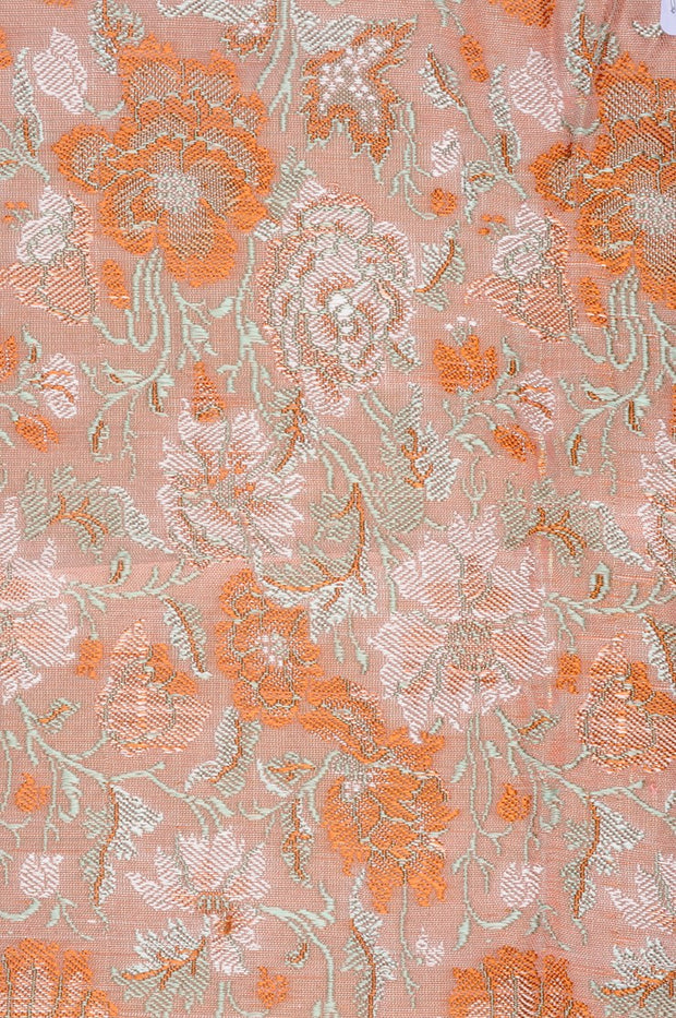 Coral Pink Silk Brocade Fabric