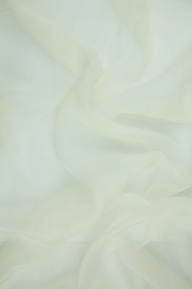 Whisper White Silk Crinkled Chiffon Fabric