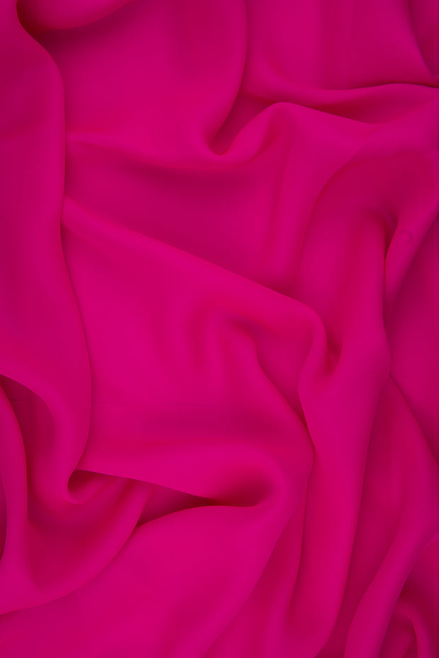 Shocking Pink Silk Double Georgette Fabric