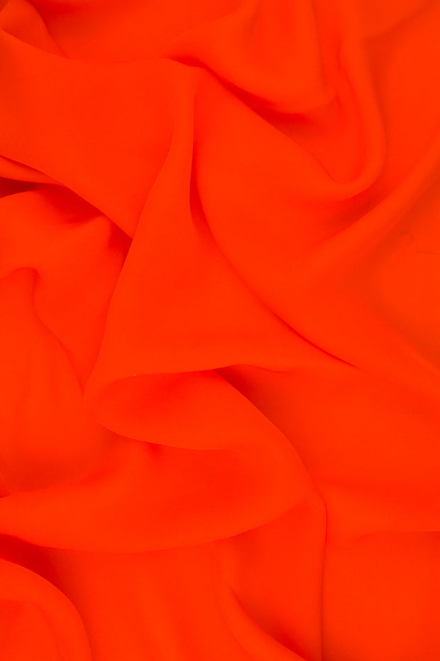 Red Orange Silk Double Georgette Fabric