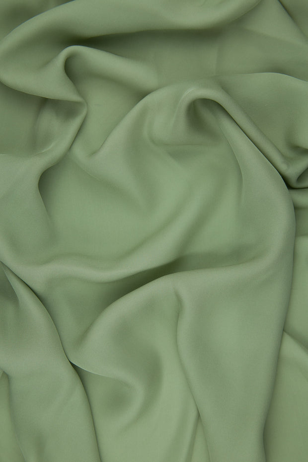 Olive Green Silk Double Georgette Fabric
