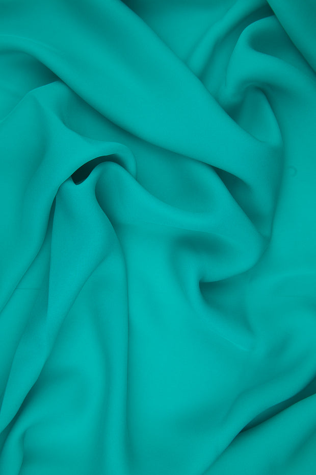 Caribbean Green Silk Double Georgette Fabric
