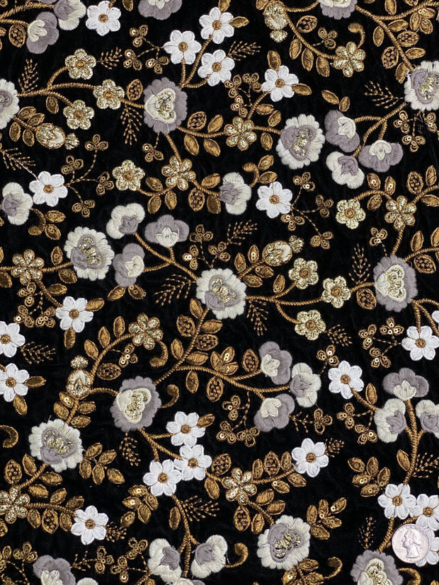 Multicolor Velvet Embroidery JEAD-012/1 Fabric
