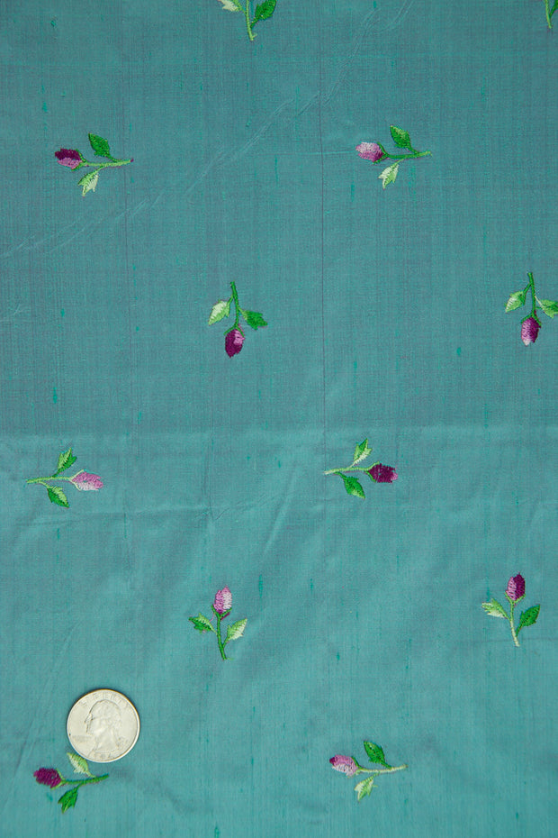 Embroidered Dupioni Silk MED-120 Fabric