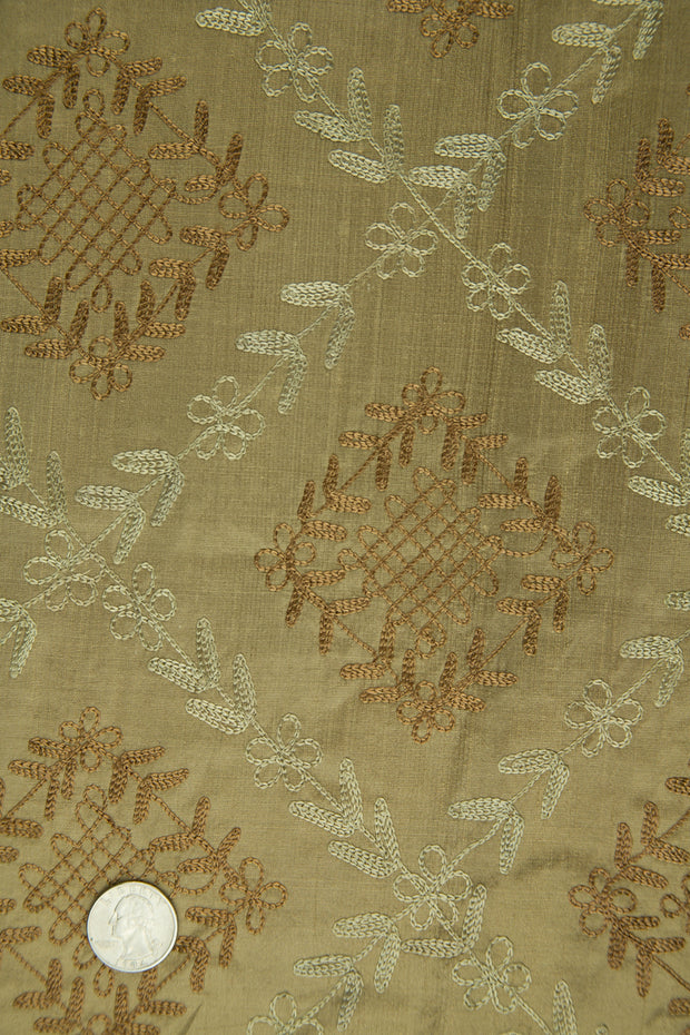 Embroidered Dupioni Silk MED-141/2 Fabric