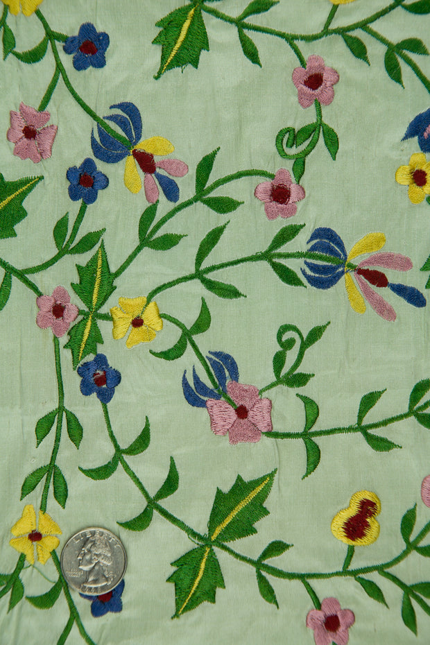 Embroidered Dupioni Silk MED-143/3 Fabric
