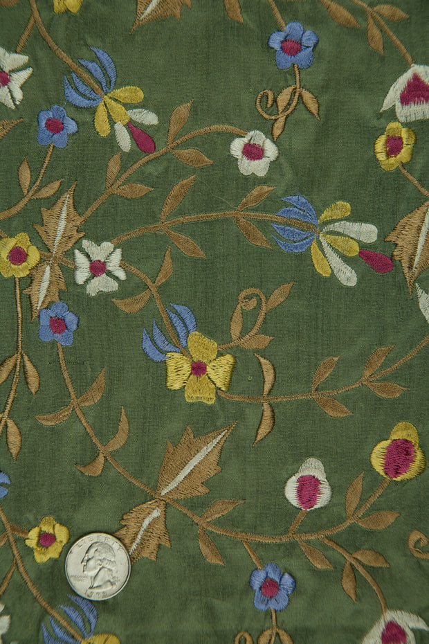 Embroidered Dupioni Silk MED-143/6 Fabric