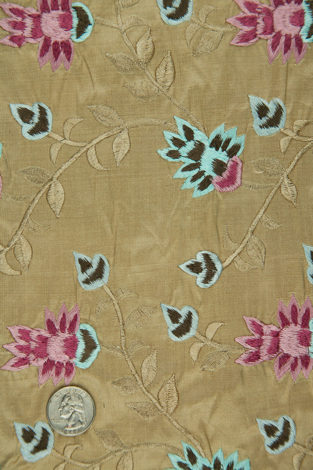 Embroidered Dupioni Silk MED-145/6 Fabric