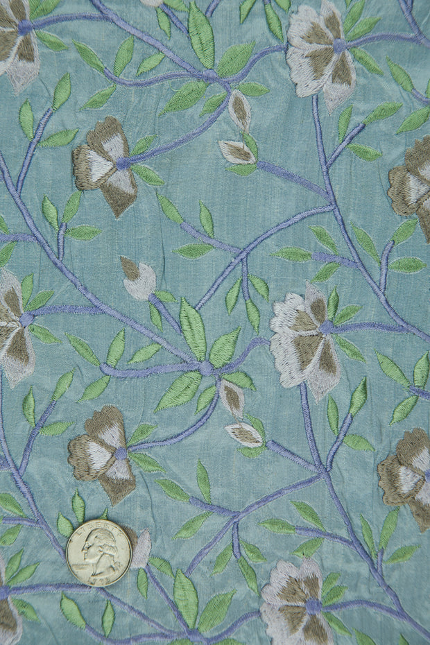 Embroidered Dupioni Silk MED-151/3 Fabric