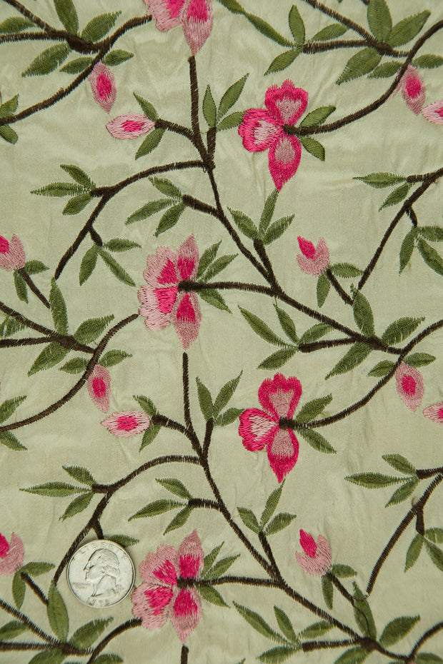 Embroidered Dupioni Silk MED-151/6 Fabric