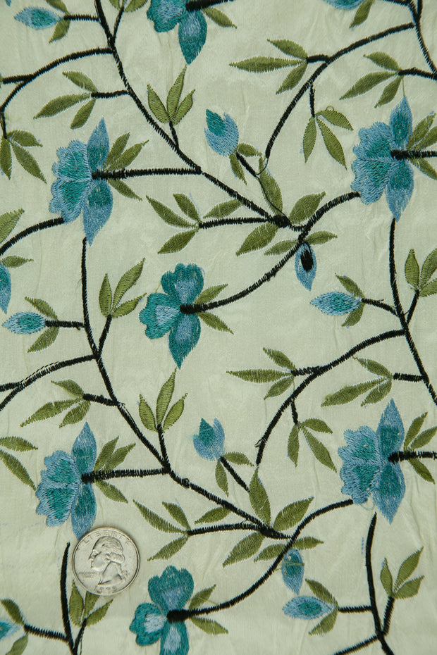 Embroidered Dupioni Silk MED-151/7 Fabric