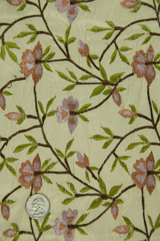 Embroidered Dupioni Silk MED-151/8 Fabric