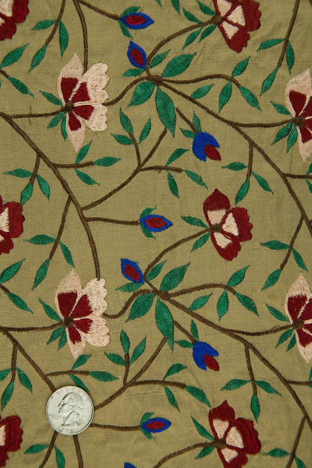 Embroidered Dupioni Silk MED-151 Fabric