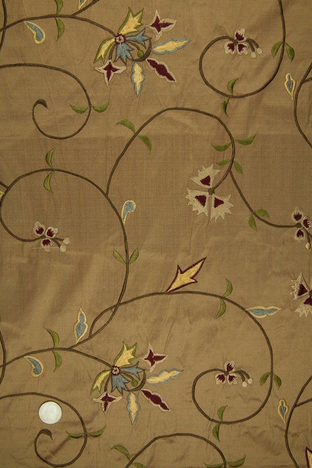 Embroidered Dupioni Silk MED-152/1 Fabric