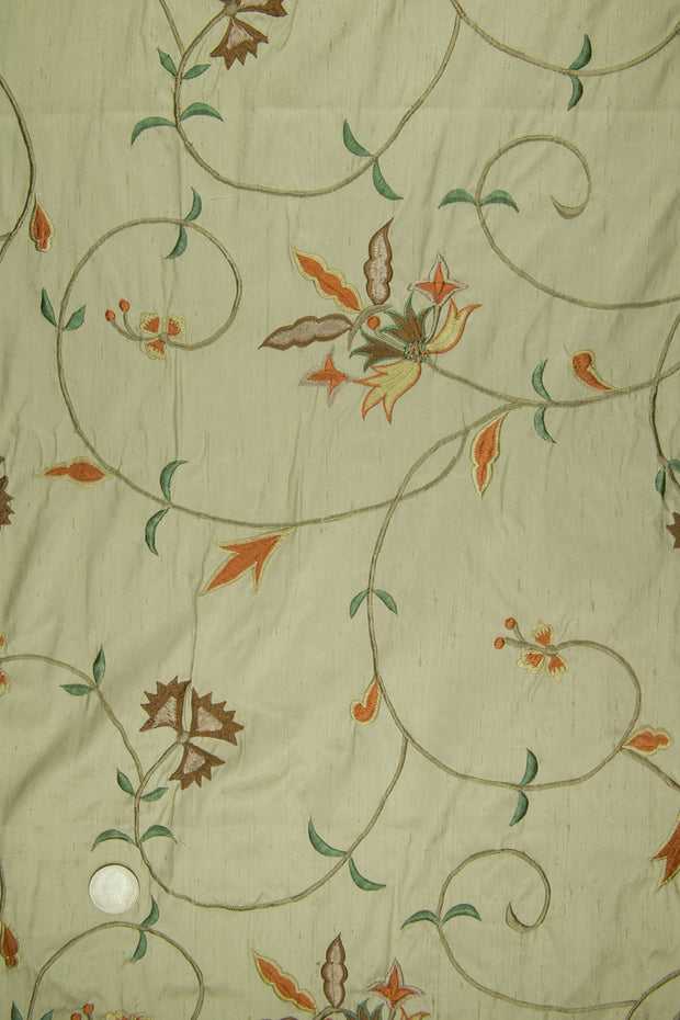Embroidered Dupioni Silk MED-152/2 Fabric