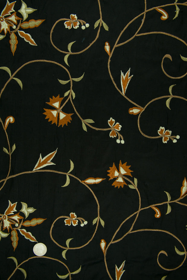 Embroidered Dupioni Silk MED-152/4 Fabric