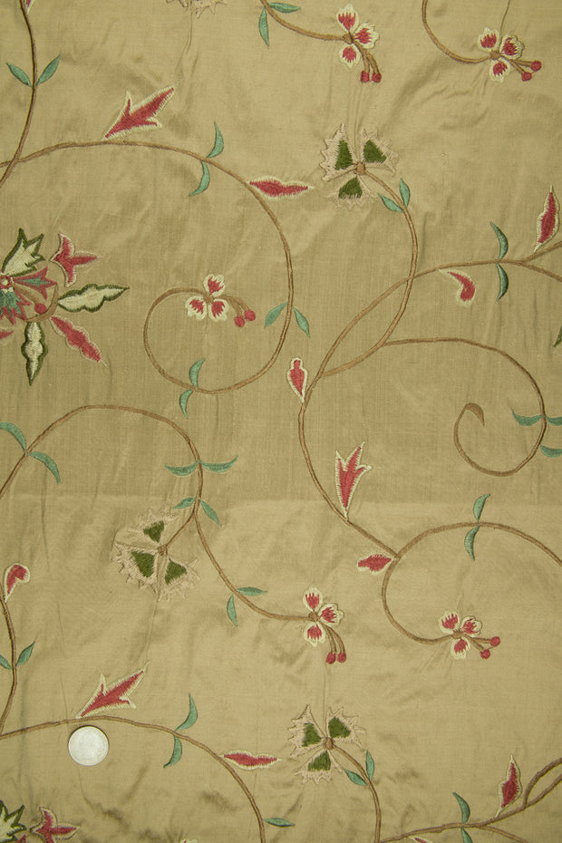 Embroidered Dupioni Silk MED-152 Fabric