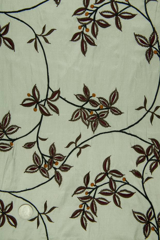 Embroidered Dupioni Silk MED-157/1 Fabric