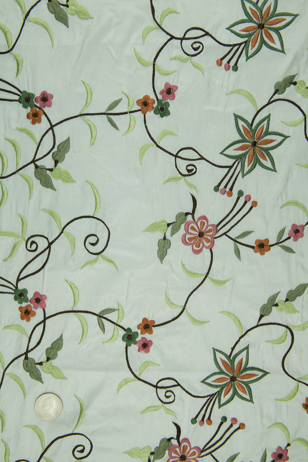 Embroidered Dupioni Silk MED-158/7 Fabric